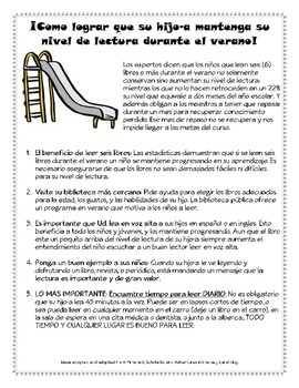How to Avoid the Summer Slide Handout-In English AND Spanish!