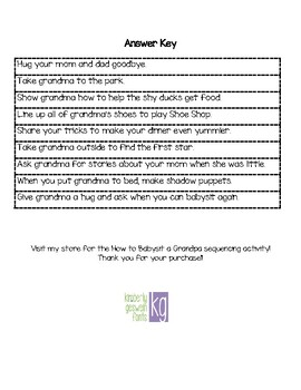 How to Babysit a Grandma Sequencing Activity