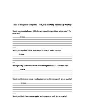 How to Babysit an Orangutan Vocabulary Activities