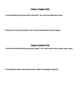 How to Be a Perfect Person in Just Three Days Written Comprehension Questions