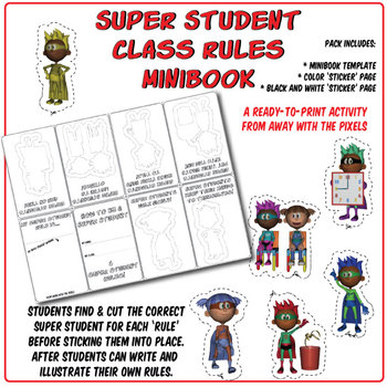 How to Be a Super Student - Classroom Rules Minibook Cut and Stick Activity