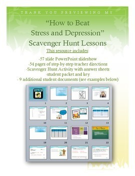 "Health Lesson: ""Beat Stress and Depression"" Scavenger Hunt"