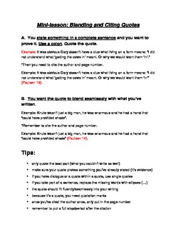 How to Blend and Cite Quotations - Mini-Lesson & Handout