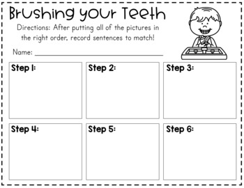 How to Brush Teeth Dental Health Sequencing Cards