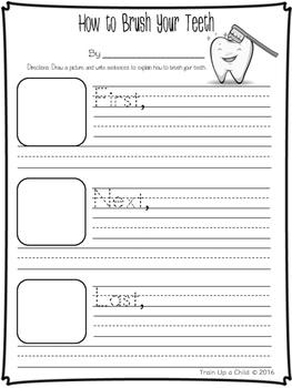 How to Brush Your Teeth K-1 Writing ~Freebie~