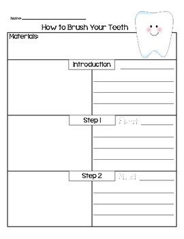 how to brush your teeth writing template by teach the change tpt. Black Bedroom Furniture Sets. Home Design Ideas