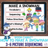 How to Build a Snowman 3-6 Picture Scene Sequencing Boom Cards™