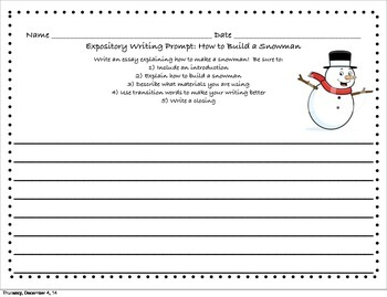 How to Build a Snowman Writing Prompt