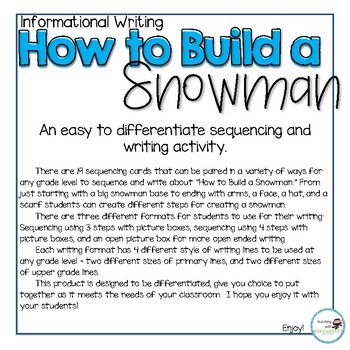How to Build a Snowman - Sequencing and Writing Activity