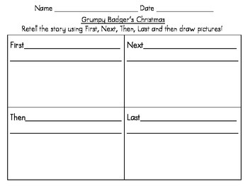Snowman Writing Paper and Grumpy Badger Retell- FREEBIE