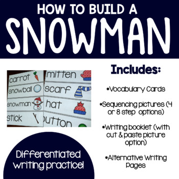 How to Build a Snowman- Writing w/ Vocabulary Cards