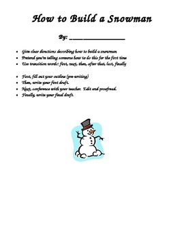 """How to Build a Snowman"" writing activity"