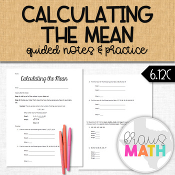 Calculating the Mean: Guided Notes & Practice (Central Tendency)