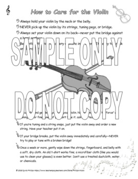 How to Care for the Violin and Bow Handout