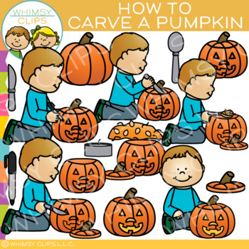 How to Carve a Pumpkin: Sequencing and Fall Clip Art