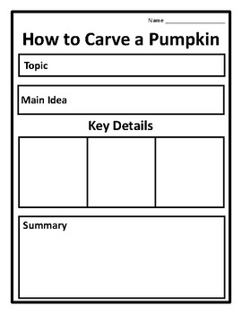 How to Carve a Pumpkin Graphic Organizer How to Carve a Pumpkin Activity Writing