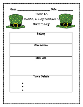 How to Catch a Leprechaun Summary Graphic Organizer