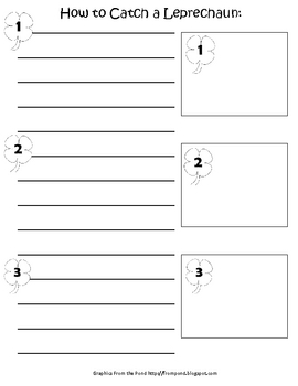 How to Catch a Leprechaun Writing and Drawing (Black and White)