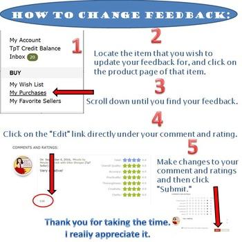 How to Change Feedback TpT