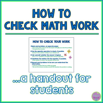 How to Check Math Work - Handout