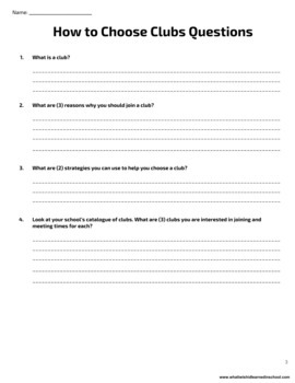 How to Choose Clubs Reading & Questions - High School SPED