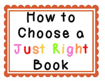 How to Choose a Just Right Book Posters Anchor Charts