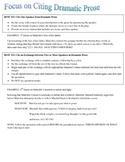 How to Cite Dramatic Prose/Citation Help