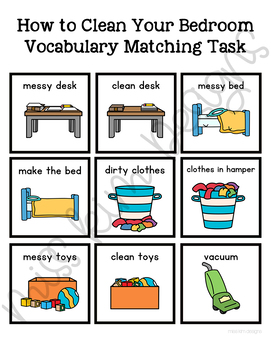 How to Clean Your Bedroom Vocabulary Folder Game for Special Education