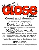 How to Close Read Poster