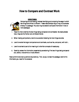 How to Compare and Contrast Work- Worksheet/ Teaching Ideas
