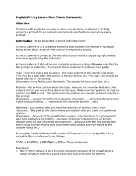 Thesis Statement - Composing a Solid Thesis Lesson Plan and Notes