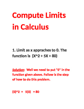 How to Compute Basic Limits in Calculus