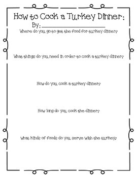 How to Cook A Turkey Dinner: A Thanksgiving Creative Writing Project