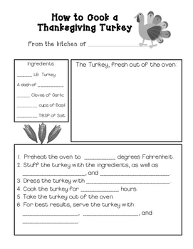 How to Cook a Turkey Writing Activity