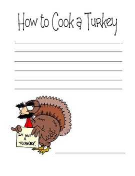 How to Cook a Turkey Writing Activity & Keepsake