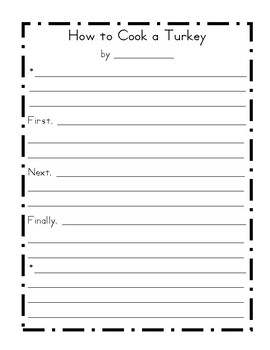 How To Cook A Turkey Writing Template By Teacher Mama Kari Tpt