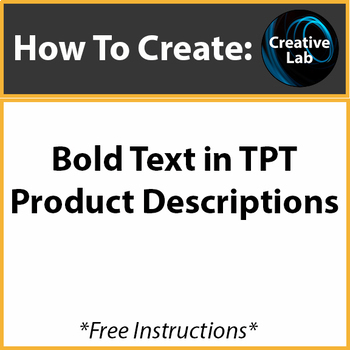 TpT - Bold Text in Product Descriptions