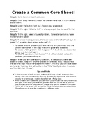 How to Create a Common Core Sheet