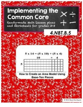 4.NBT.B.5 How to Create an Area Model Using Base-Ten Pieces