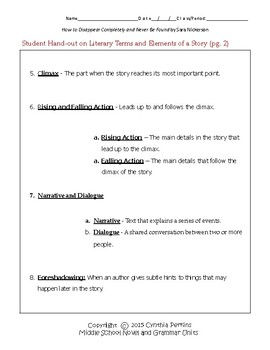 How to Disappear Completely & Never Be Found Complete Literature & Grammar Unit