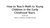How to Do Math in the Early Years ( parents and teachers o