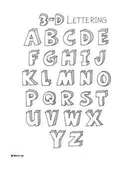 How to Draw 3D Letters Handout for Art Class