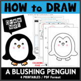 How to Draw A Blushing Penguin - Directed Drawing