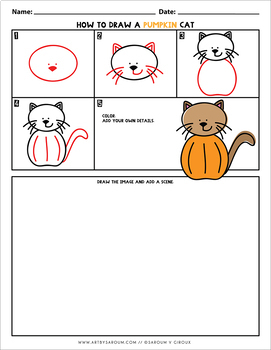How to Draw A Pumpkin Cat - Directed Drawing