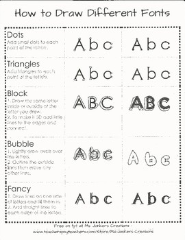 How to Draw Different Fonts - dots, triangle, bubble, block and fancy.