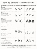 How to Draw Different Fonts - dots, triangle, bubble, bloc