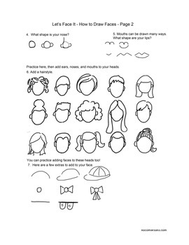 How to Draw Faces!  Complete art class handout worksheet.  Learn to draw!