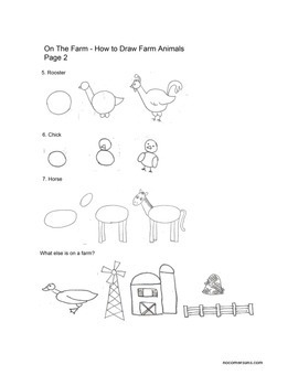 How to Draw Farm Animals.  Art class worksheet or handout.
