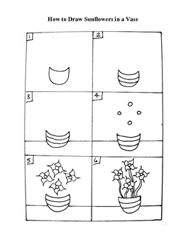 How to Draw Sunflowers in a Vase