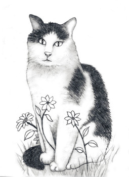 How to Draw a CAT IN FLOWERS!